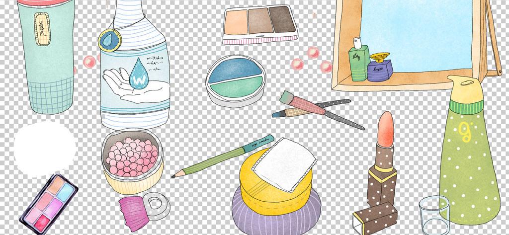 0362护肤品化妆品彩妆卡通手绘免抠素材