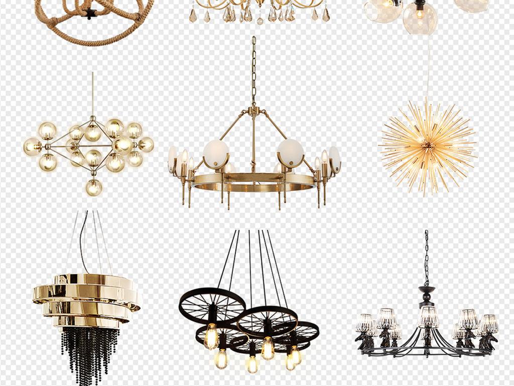 50款时尚北欧风创意家居灯具吊灯png图片素材_模板(19