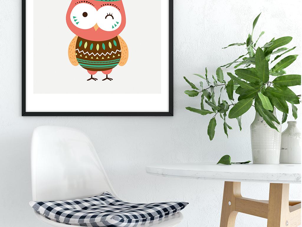 北欧简约卡通小鸟森系小动物装饰画无框画