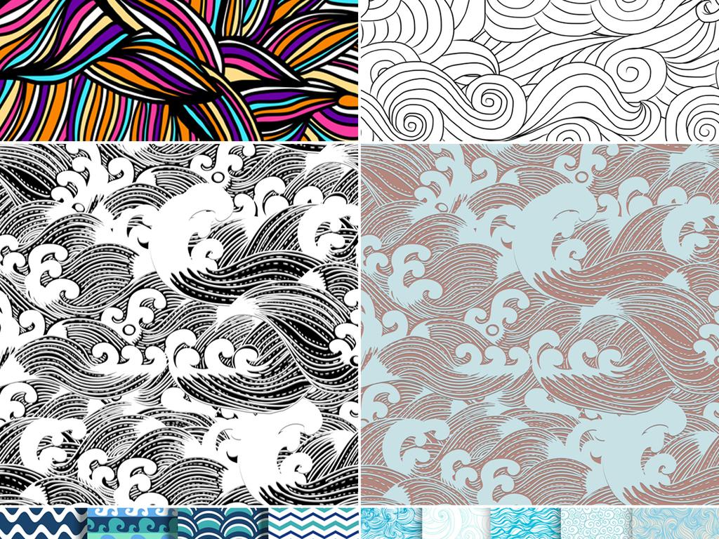 手绘蓝色海浪日本传统和风纹理平铺背景图案