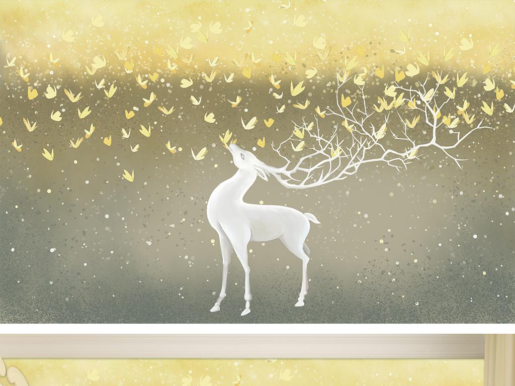 手绘麋鹿蝴蝶儿童房背景墙装饰画