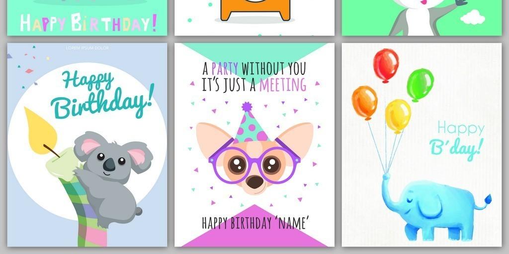 手绘卡通q版可爱小动物儿童生日贺卡送字体