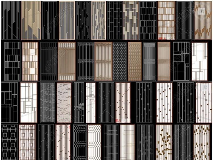 24款现代新中式欧式风格花格CAD图纸