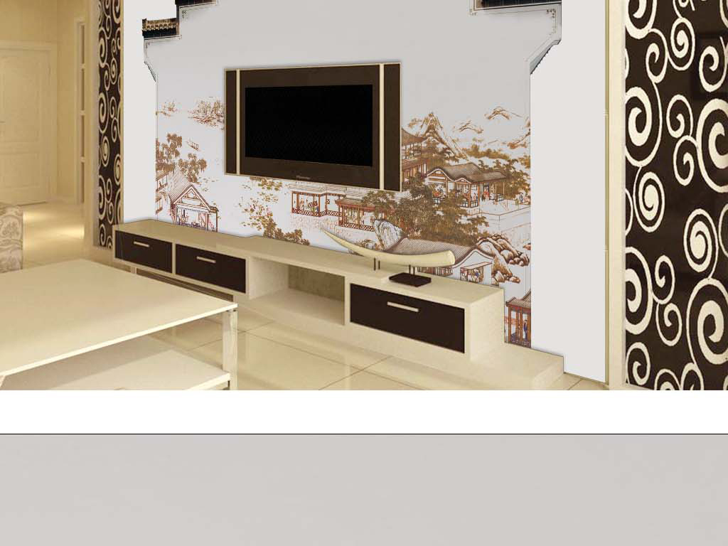 中国风房檐墙壁手绘山水新中式背景墙