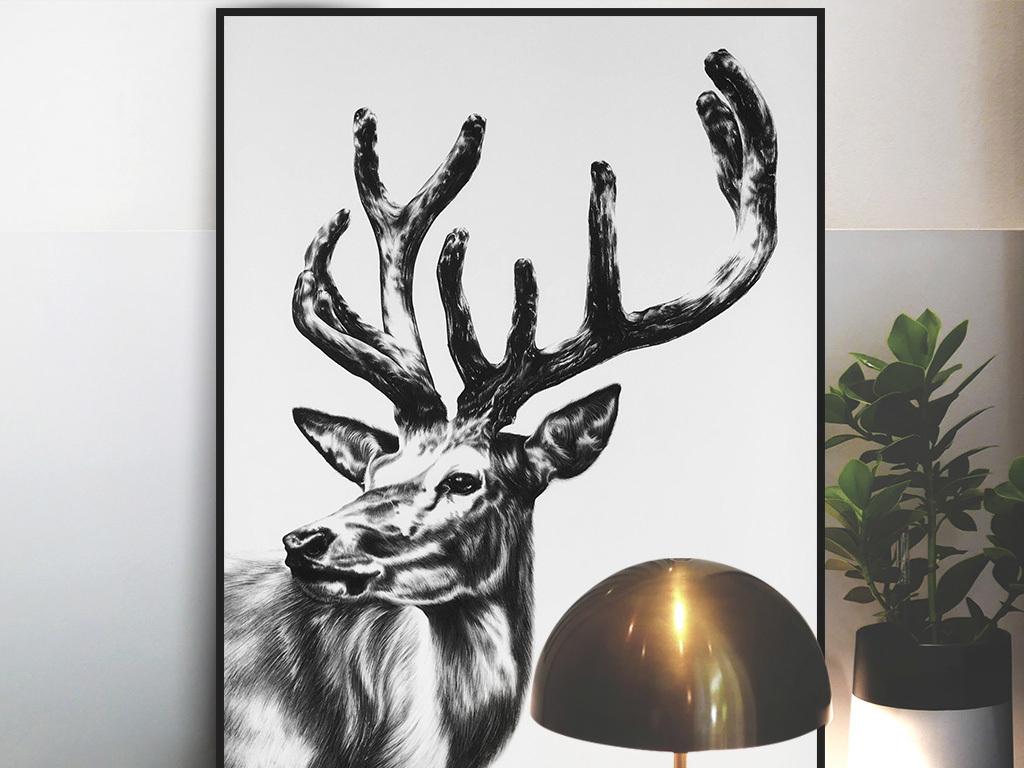 黑白麋鹿动物绘画装饰画