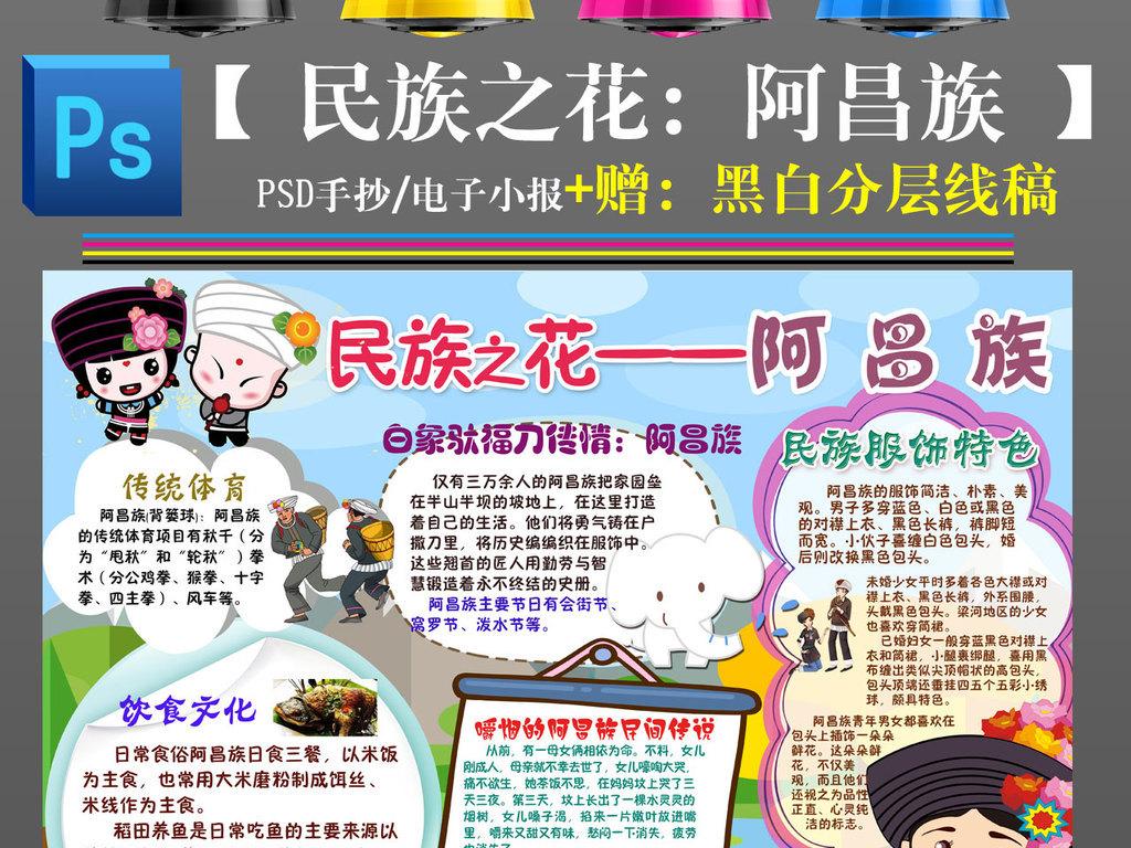 阿昌族少数民族习俗风俗服饰特色爱家乡美食卡通手抄报小报图片