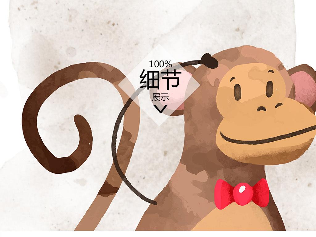 简约小清新北欧卡通手绘狮子猴子小象装饰画