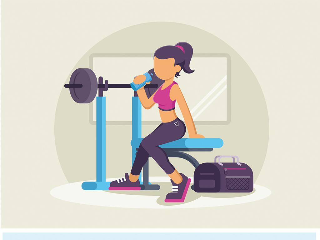 北欧现代简约手绘卡通健身人物运动图片素材_ai模板()