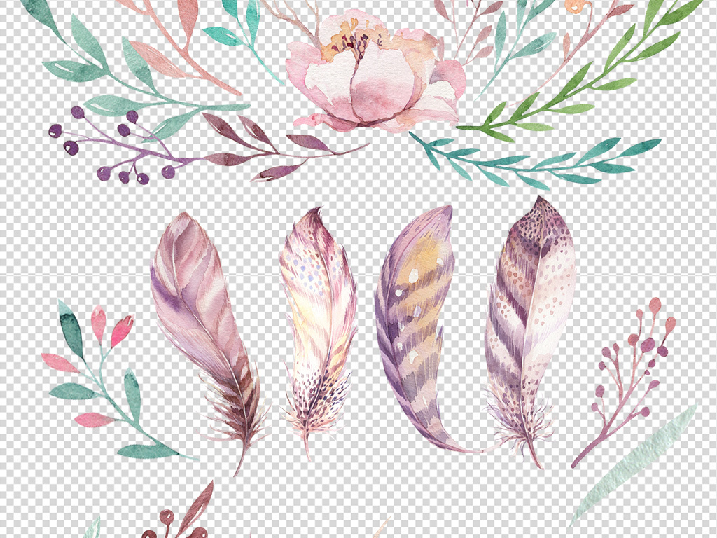 波西米亚淡雅手绘水彩花卉羽毛png免扣设计素材