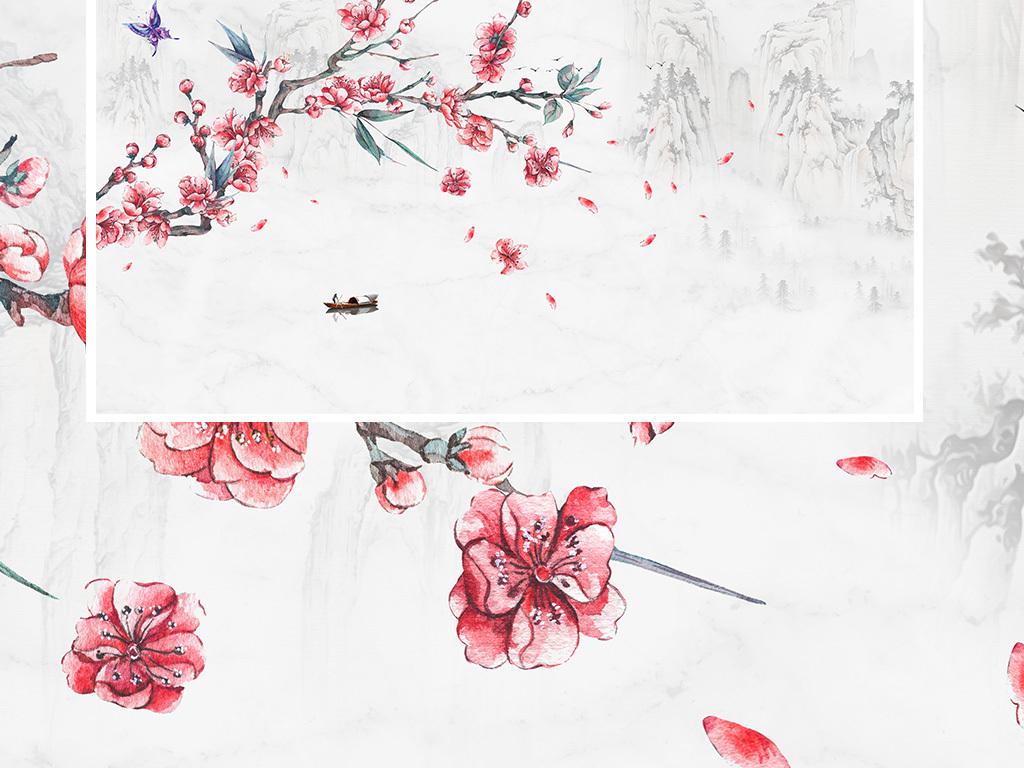 新中式手绘花鸟山水卧室背景墙手绘工笔桃花