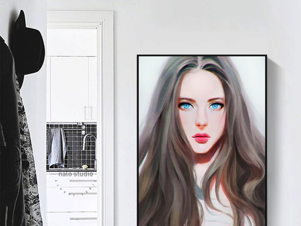 蓝眼睛美女混血儿现代欧美手绘人物装饰画