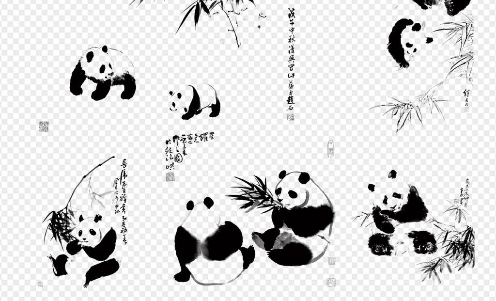 高清水墨可爱熊猫竹子国宝四川国画元素图片
