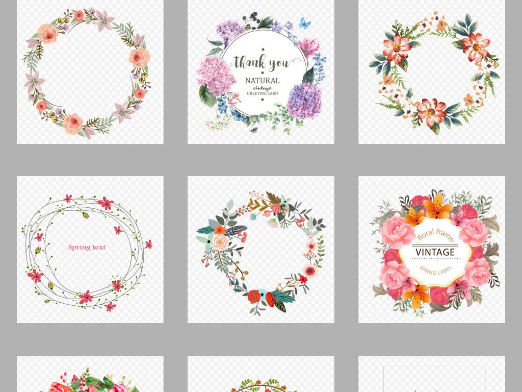 50款手绘小清新圆形花环边框png素材