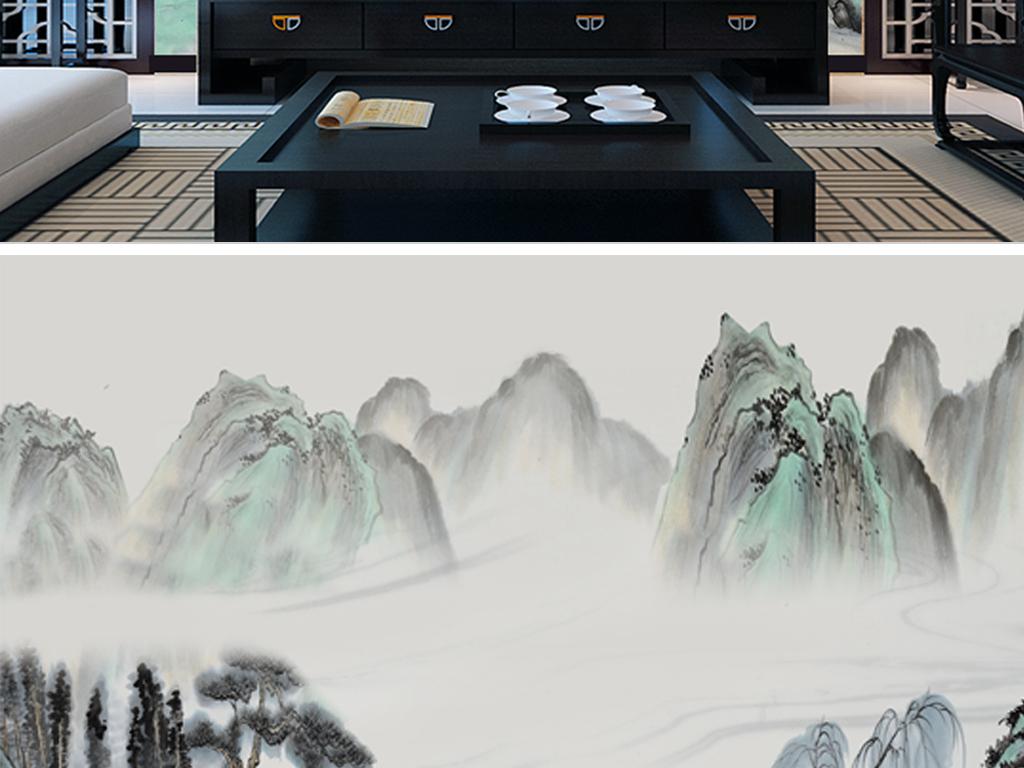 背景墙 壁画 手绘壁画 > 新中式意境水墨山水之青山绿水  素材图片
