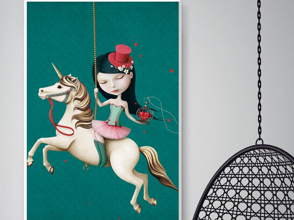 北欧创意手绘卡通女孩子装饰画