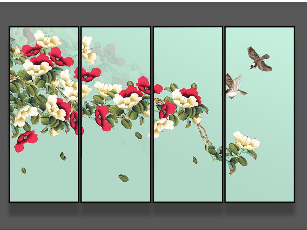 杜鹃花新中式手绘工笔花鸟背景墙装饰画