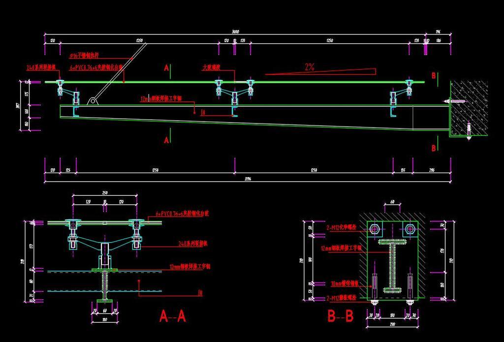 建筑设计 cad图纸  建筑图纸 > 工字钢雨棚cad节点施工图