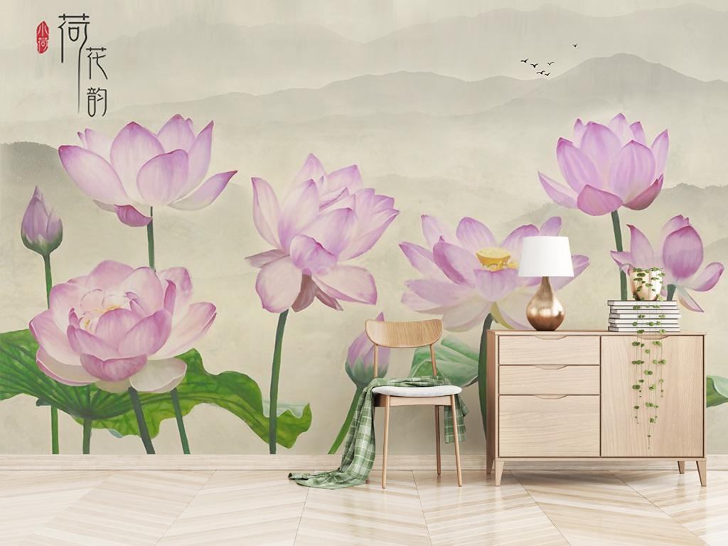 新中式禅意墨韵水墨山水手绘荷花背景墙装饰画