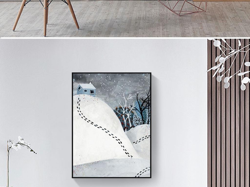 冬天的童话北欧丹麦手绘法式浪漫怀旧装饰画