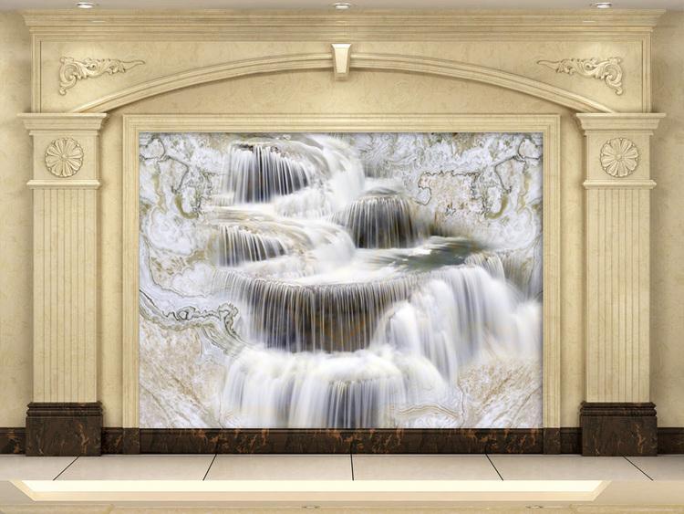 大理石纹流水生财背景墙