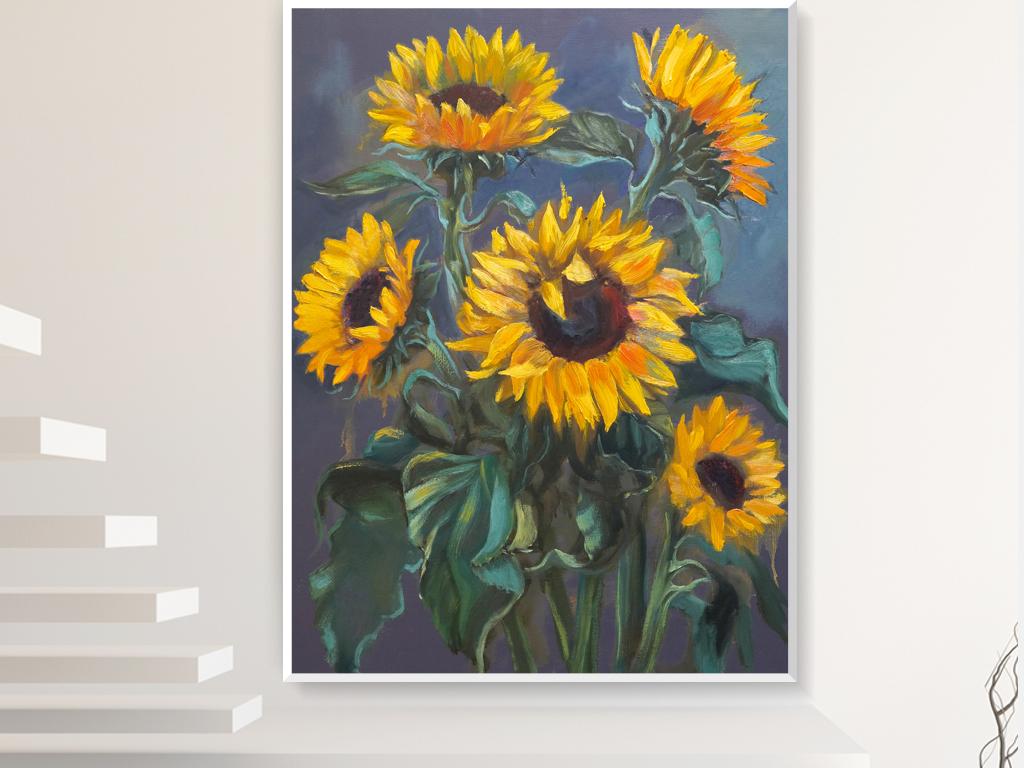 手绘向日葵油画装饰画