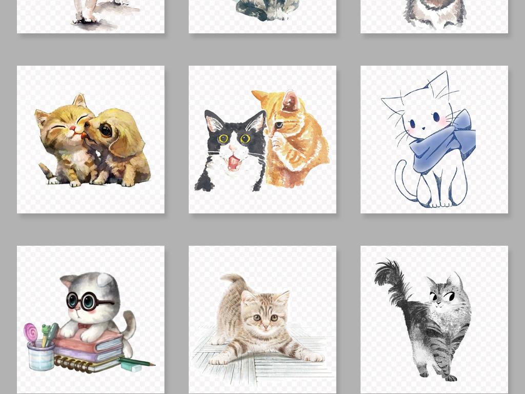 可爱手绘猫咪png免扣透明素材图片_模板下载(42.62mb)