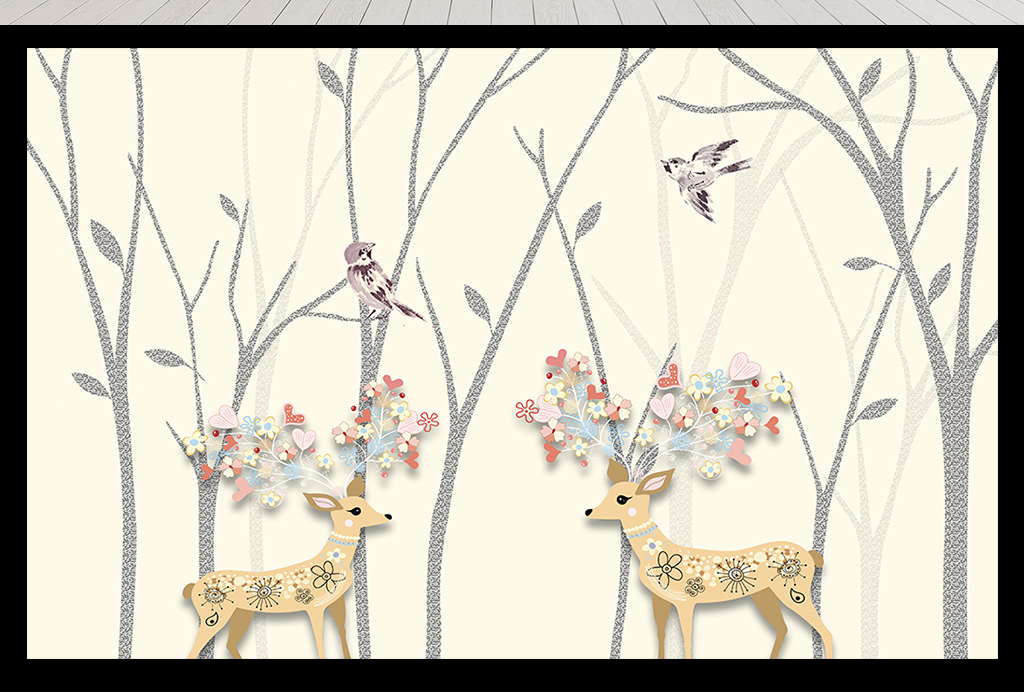 北欧风麋鹿森林手绘树林现代背景墙