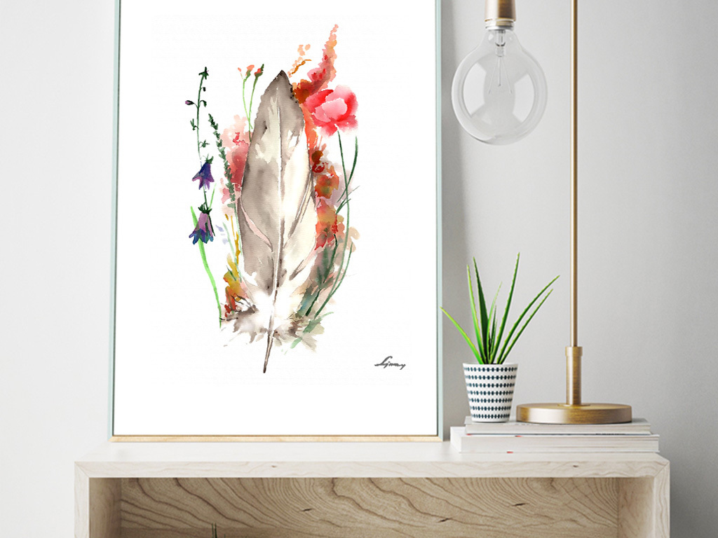北欧小清新植物花卉羽毛装饰无框画