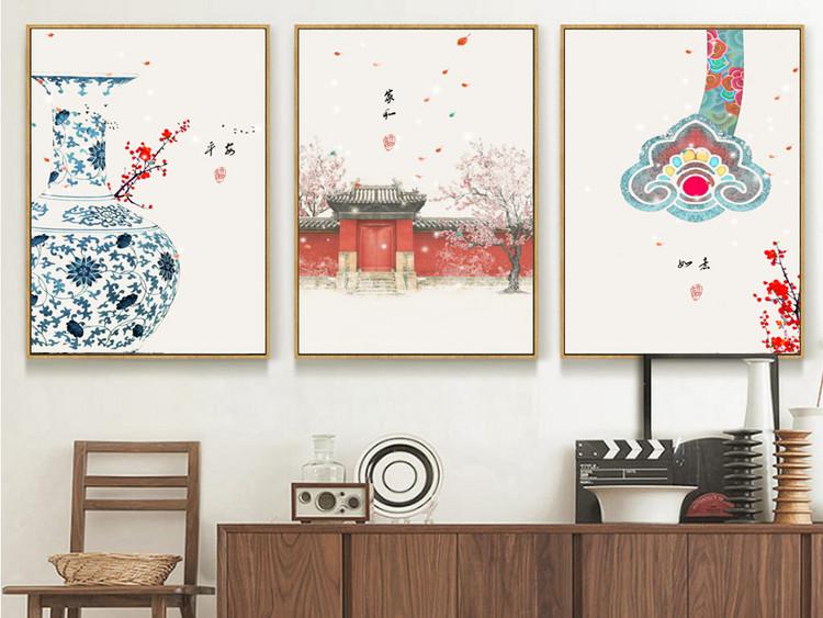 民俗古风现代简约新中式花卉抽象装饰画