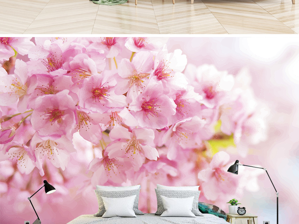 北欧简约树林樱花树手绘背景墙
