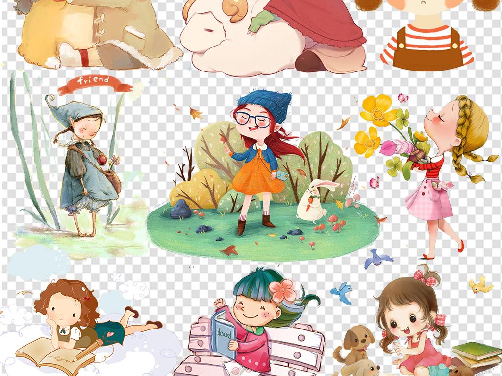 卡通可爱手绘动漫人物女孩女生png素材