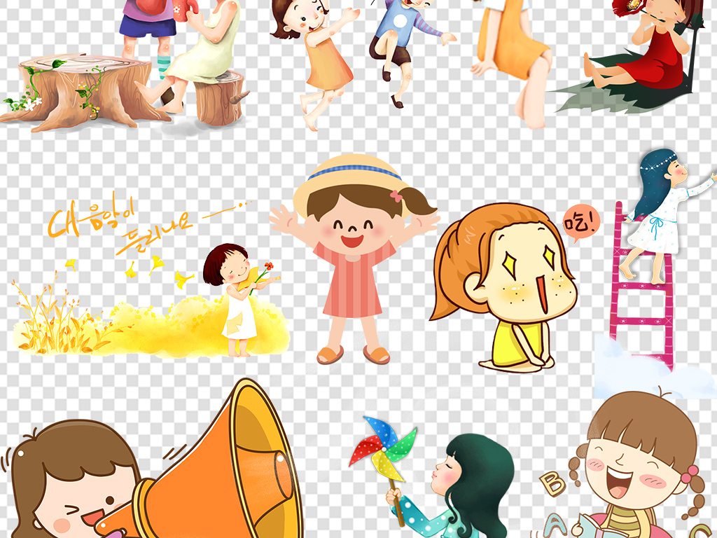 卡通可爱手绘动漫人物女孩女生png素材图片_模板下载