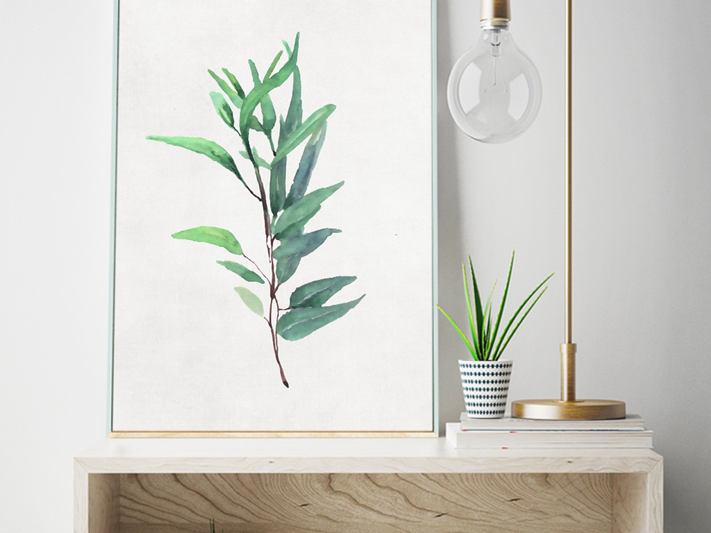 清新手绘北欧风挂画植物叶子无框画