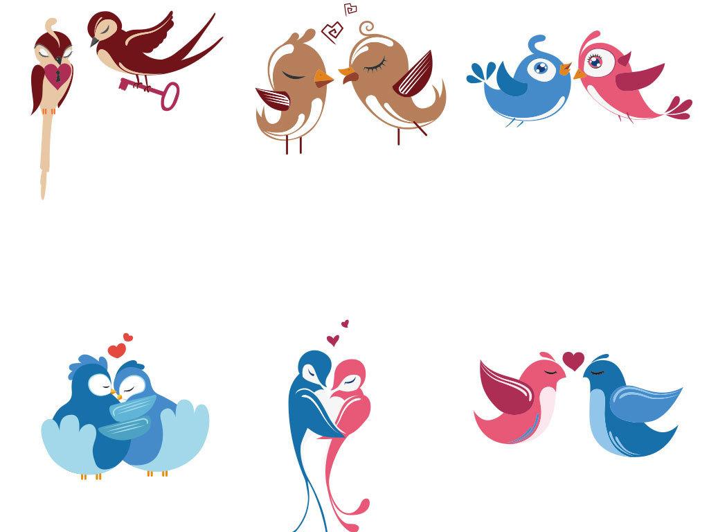 原创卡通手绘爱情小鸟矢量图