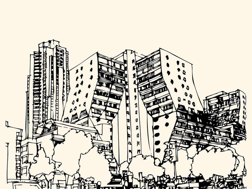 手绘白描建筑物矢量图