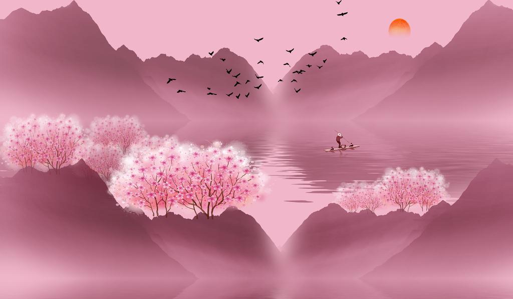 新中式唯美意境桃花林电视沙发背景墙