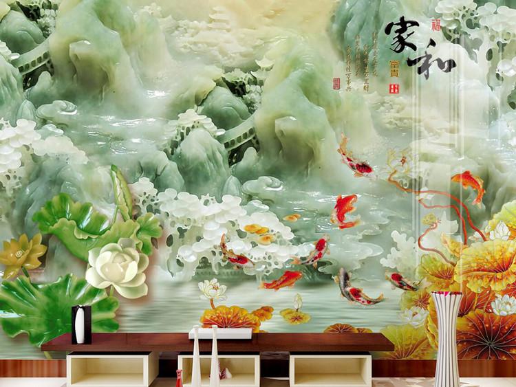 3D立体玉石家和富贵玉石山水荷花背景墙