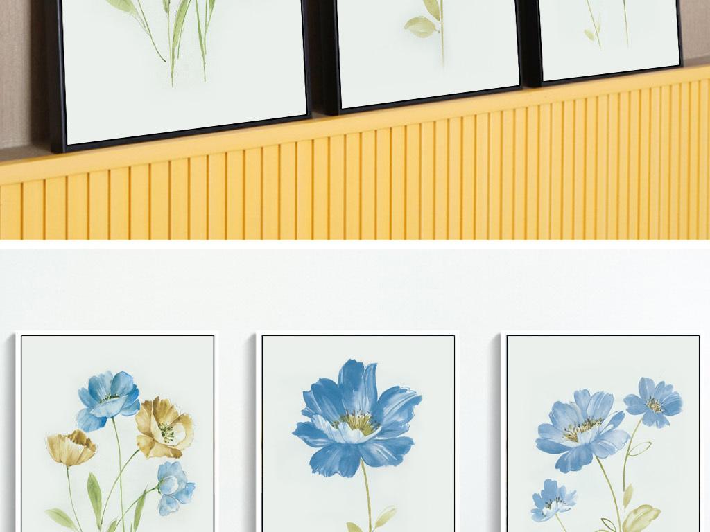 手绘植物北欧清新花卉花朵极简装饰画三联