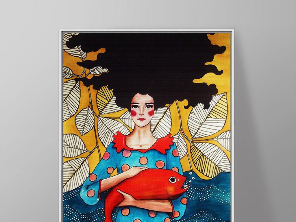 收获抱红鱼的女孩现代欧美手绘美女装饰画