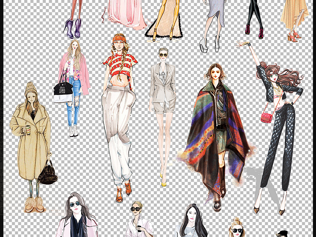 时尚卡通人物成人美女模特手绘水彩画素材