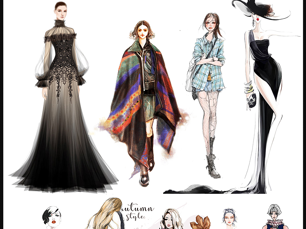 手绘时尚人物美女头像模特购物女男手绘素材图片_模板