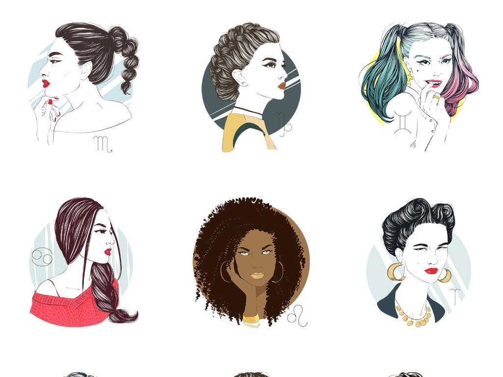 模物手绘画人物头像美女水彩画透明图免抠图