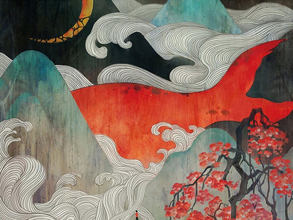 简约现代大鱼海棠背景墙壁画无框画图片