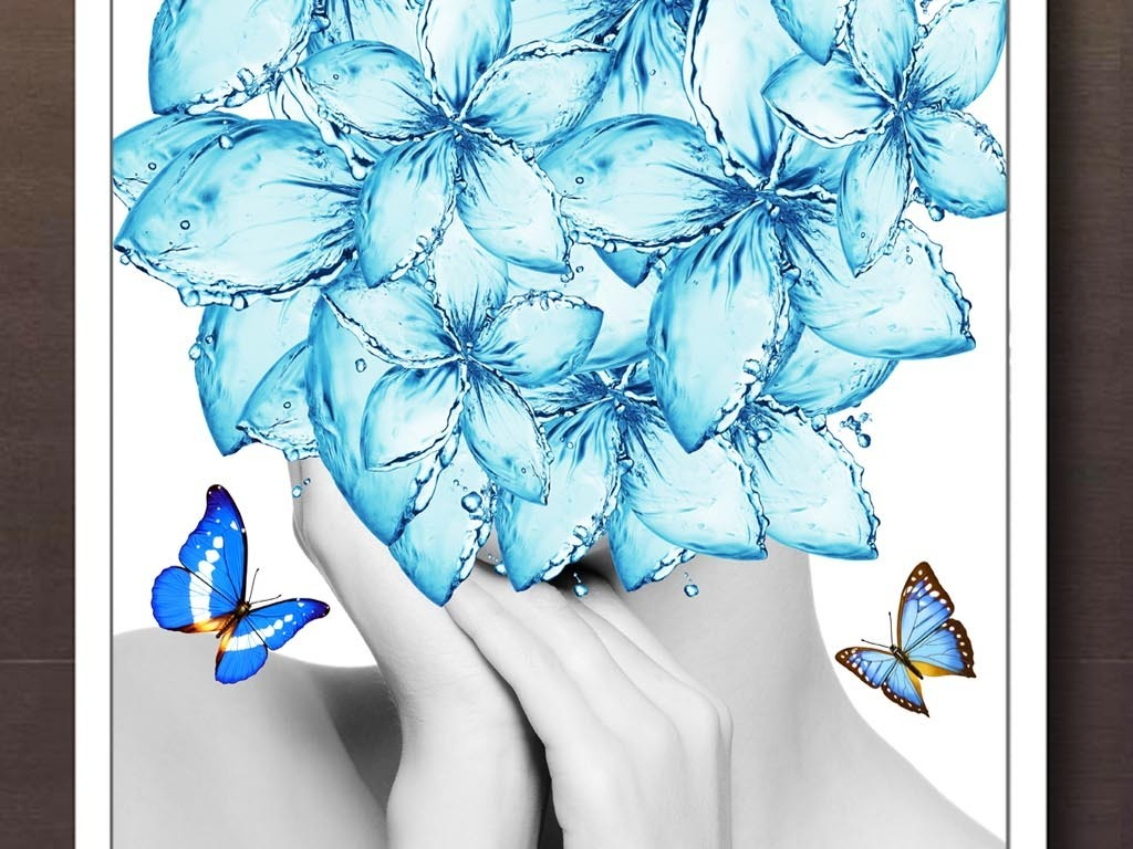 现代花卉抽象人物客厅玄关装饰画