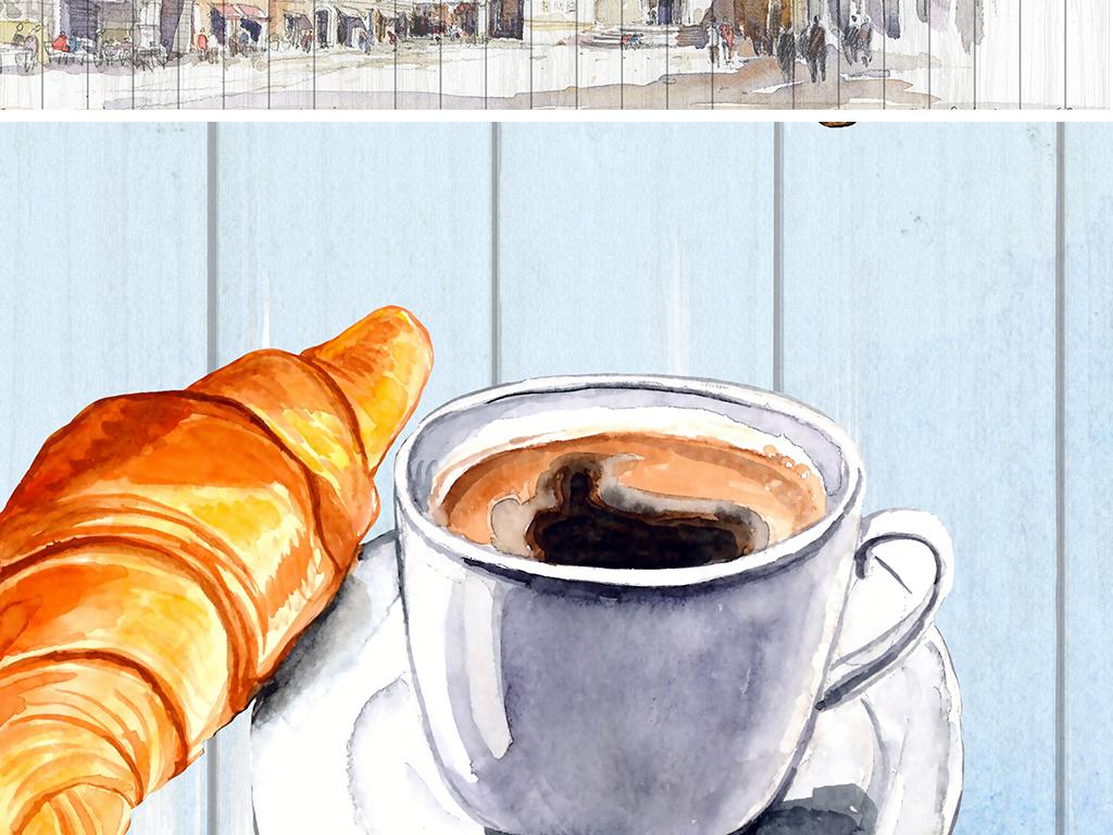 水彩手绘咖啡与风景工装背景墙