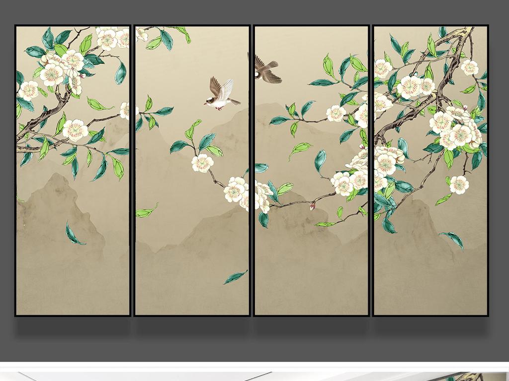 梨花手绘工笔花鸟新中式背景墙装饰画