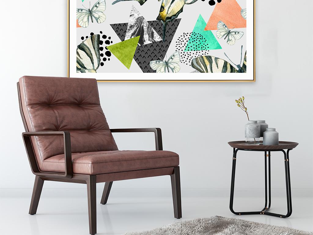 手绘抽象几何北欧时尚无缝墙纸