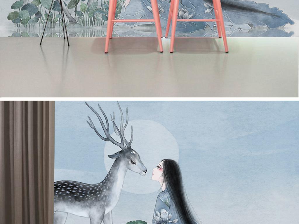 唯美手绘美女与鹿装饰画