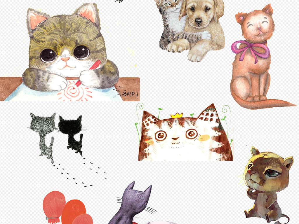 卡通可爱动物宠物手绘小猫咪png海报素材