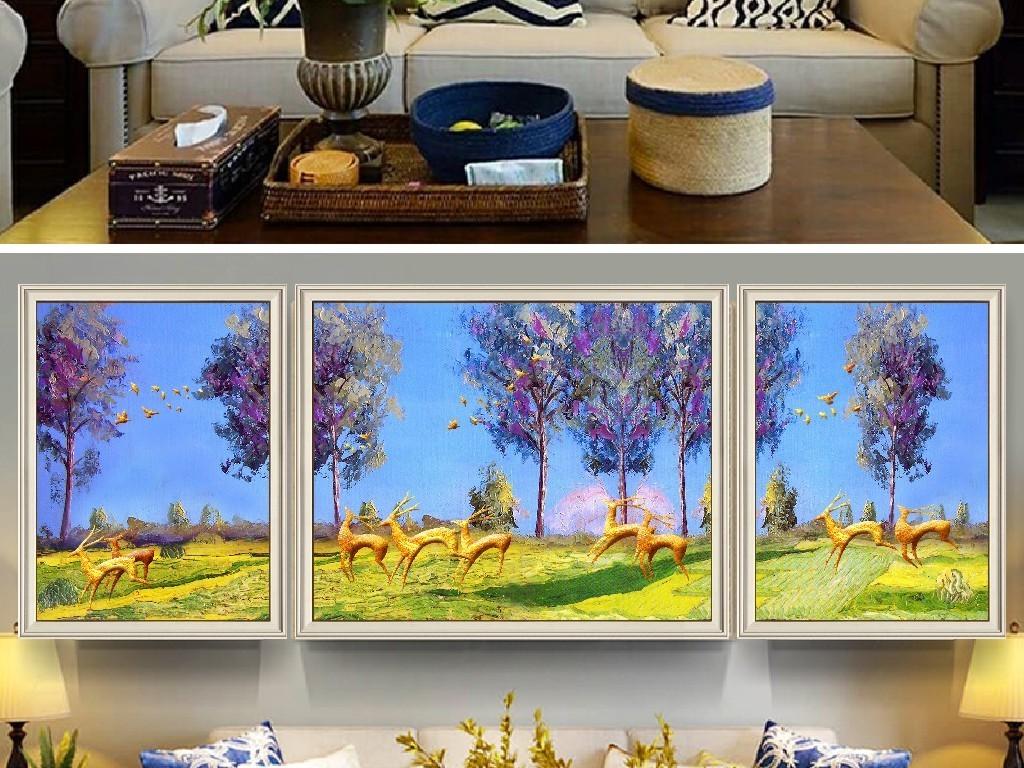 现代简约手绘森林麋鹿欧式抽象油画